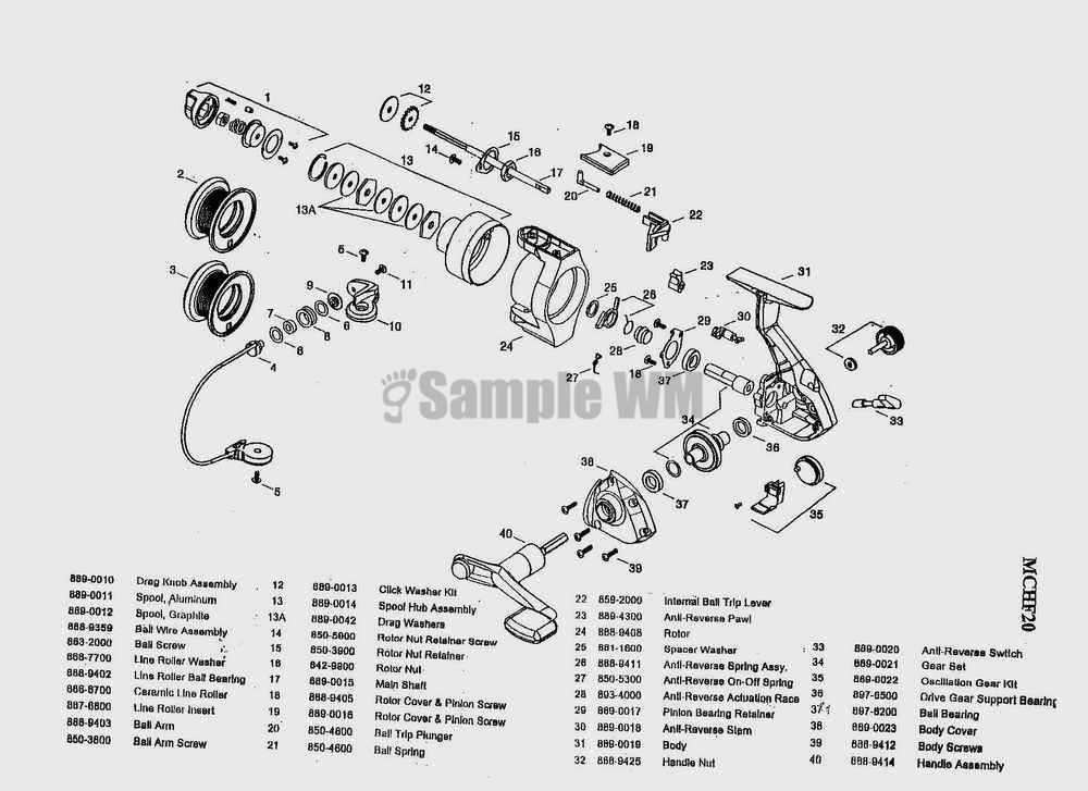 Mitchell mitchell copperhead mchf20 mikes reel repair for Fishing reel parts diagram